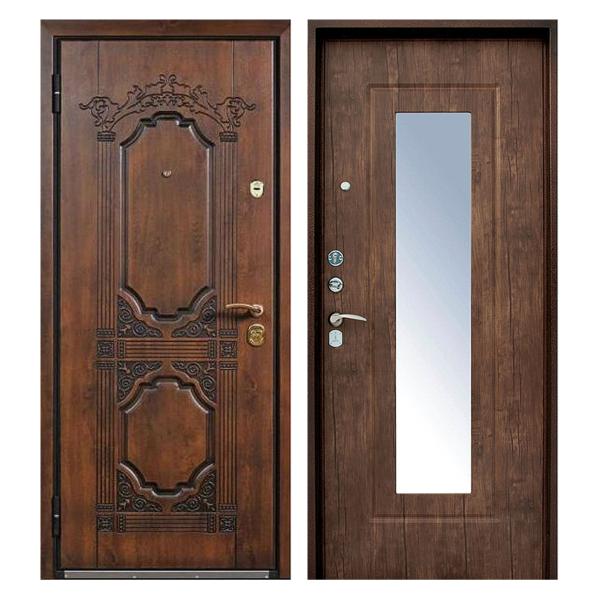 Входная металлическая дверь MRZ-002 (МДФ панели с зеркалом внутри)