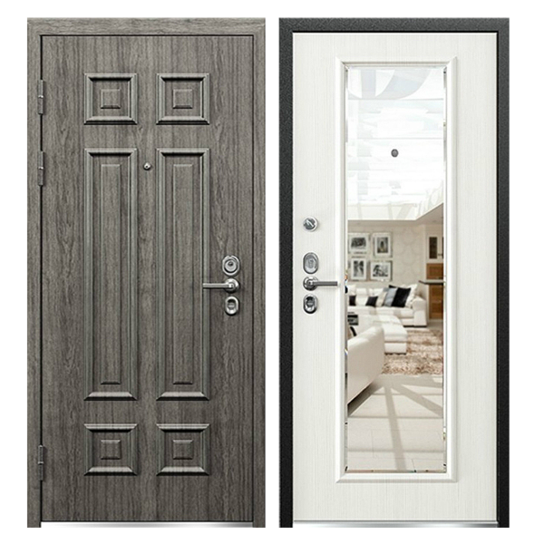 Входная металлическая дверь MZ-006 (МДФ панели с зеркалом внутри)