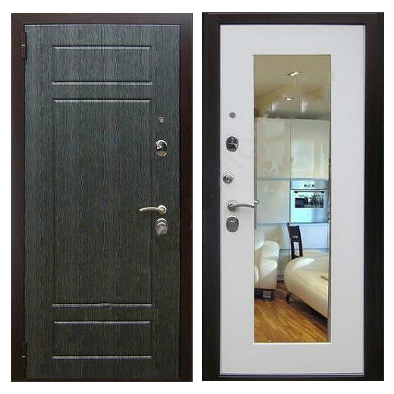 Входная металлическая дверь MZ-007 (МДФ панели с зеркалом внутри)