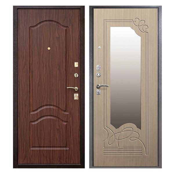 Входная металлическая дверь MZ-010 (МДФ панели с зеркалом внутри)