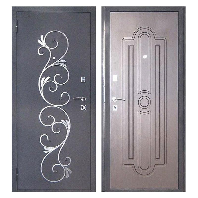 Входная металлическая дверь PMК-001 (порошковое напыление + МДФ + ковка)