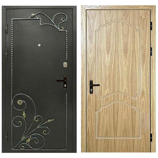 Входная металлическая дверь PMК-003 (порошковое напыление + МДФ + ковка)