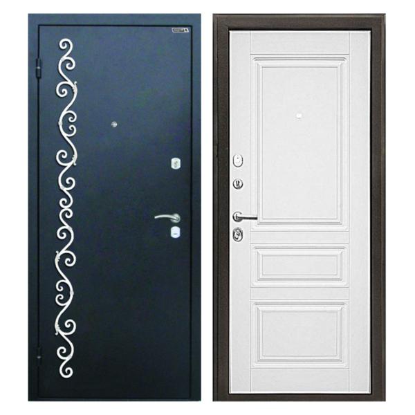 Входная металлическая дверь PMК-004 (порошковое напыление + МДФ + ковка)