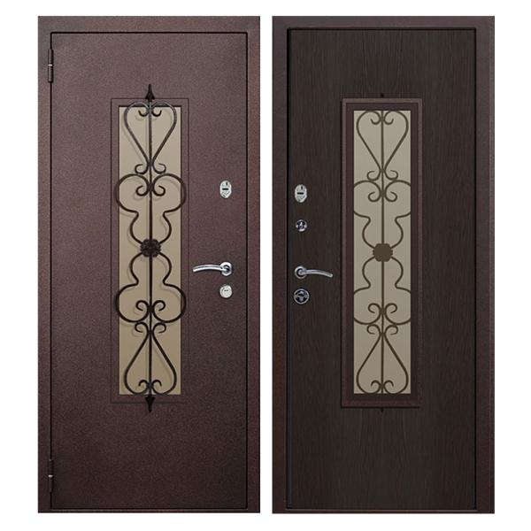 Входная металлическая дверь PMSК-001 (порошковое напыление + остекление + МДФ + ковка)