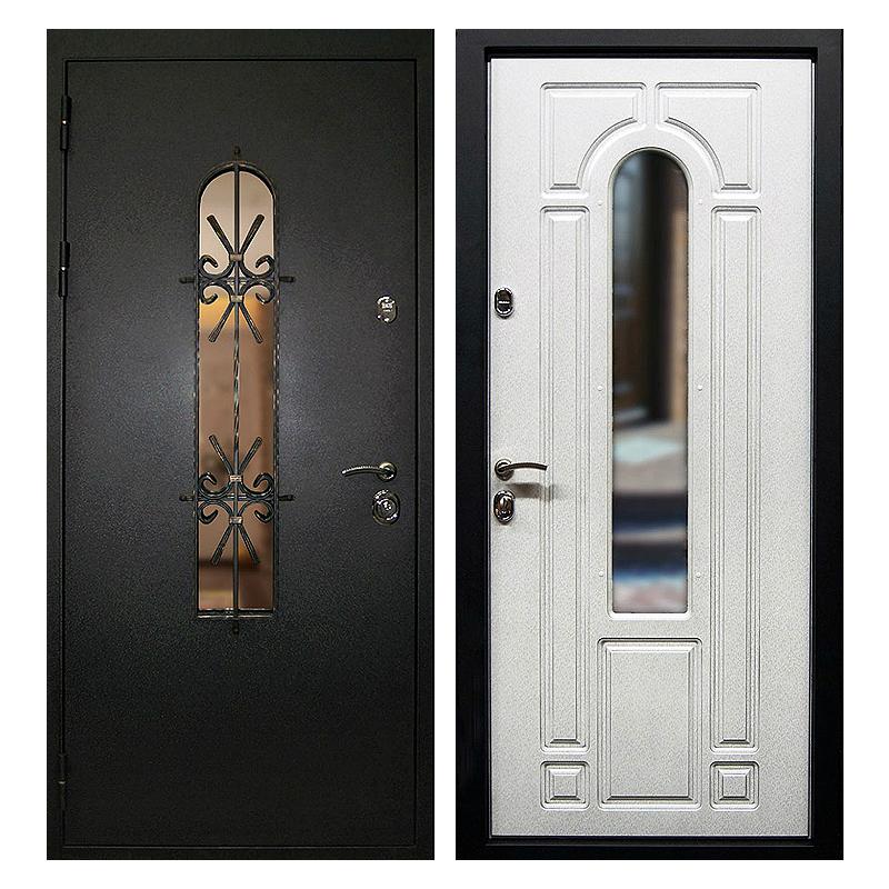 Входная металлическая дверь PMSК-002 (порошковое напыление + остекление + МДФ + ковка)