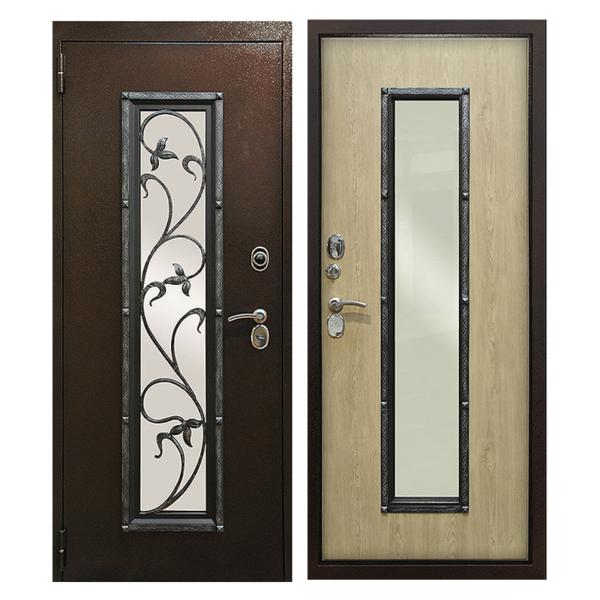 Входная металлическая дверь PMSК-003 (порошковое напыление + остекление + МДФ + ковка)