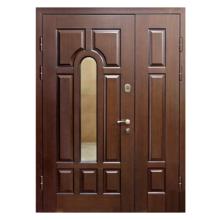 Подъездная металлическая дверь DM-039 (МДФ + стеклопакет + винилискожа)
