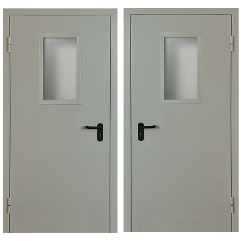 Металлическая противопожарная дверь DM-043 (порошковое напыление + стеклопакет)
