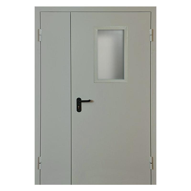 Металлическая противопожарная дверь DM-045 (порошковое напыление + стеклопакет)