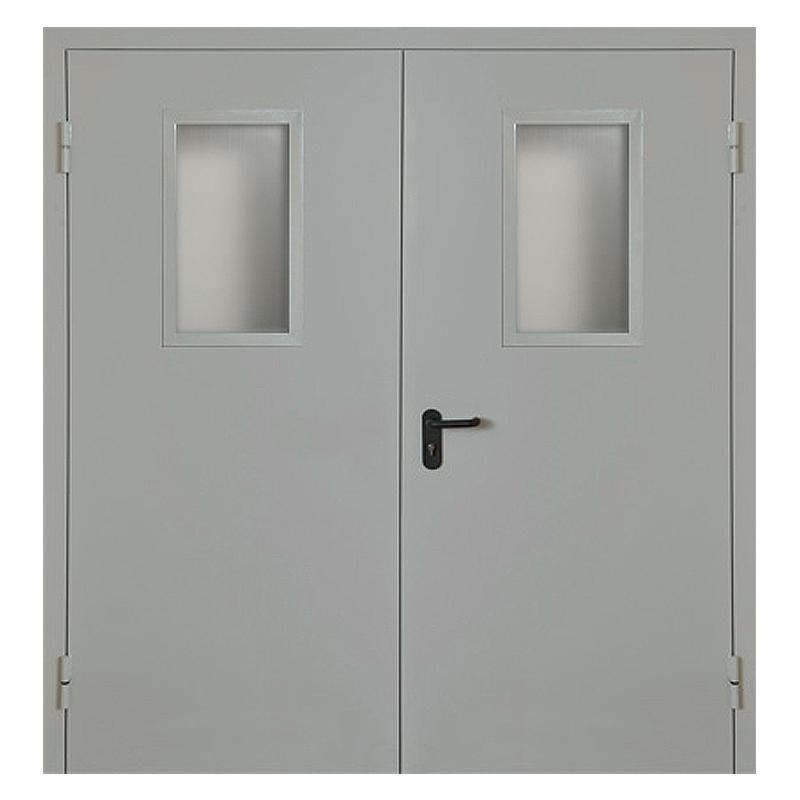 Металлическая противопожарная дверь DM-047 (порошковое напыление + стеклопакет)