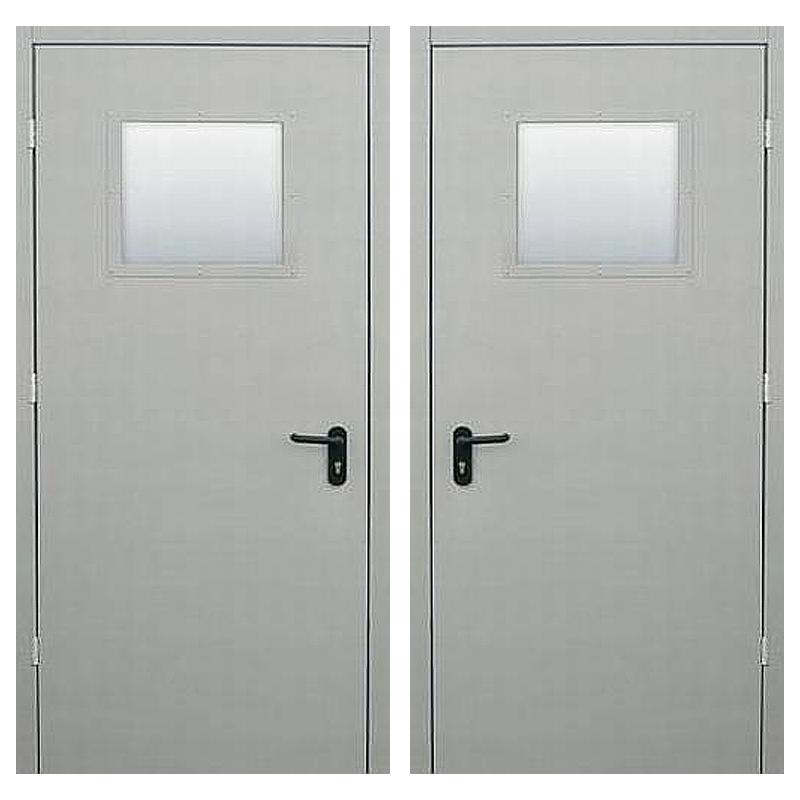 Металлическая противопожарная дверь DM-049 (порошковое напыление + стеклопакет)