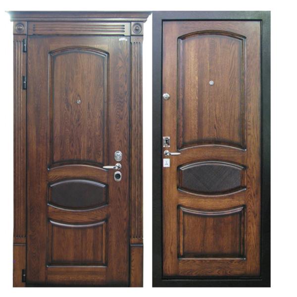 Входная металлическая дверь MD-004 (отделка массивом дуба снаружи и внутри)