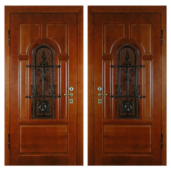 Входная металлическая дверь MD-006 (отделка массивом дуба снаружи и внутри)
