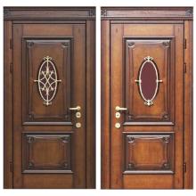 Входная металлическая дверь MD-008 (отделка массивом дуба снаружи и внутри)