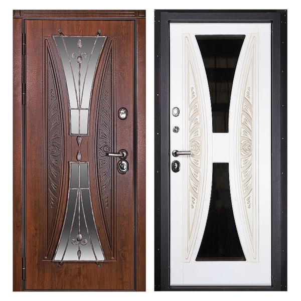 Входная металлическая дверь MRSК-001 (МДФ панели + стеклопакет + ковка)