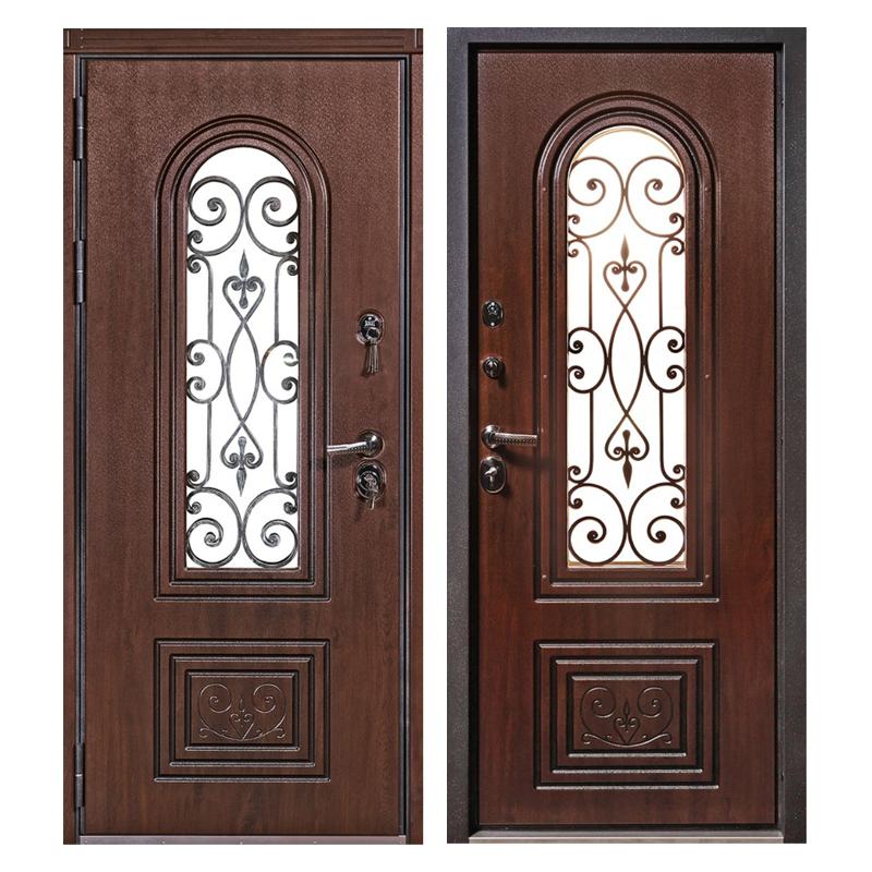 Входная металлическая дверь MRSК-002 (МДФ панели + стеклопакет + ковка)