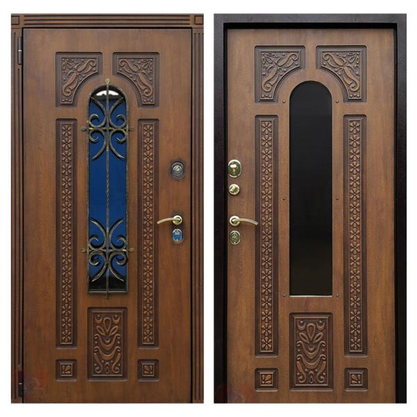 Входная металлическая дверь MRSК-003 (МДФ панели + стеклопакет + ковка)