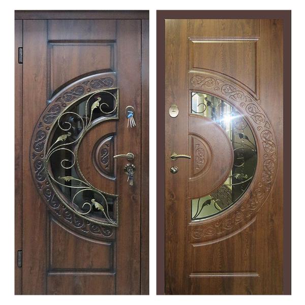 Входная металлическая дверь MRSК-004 (МДФ панели + стеклопакет + ковка)