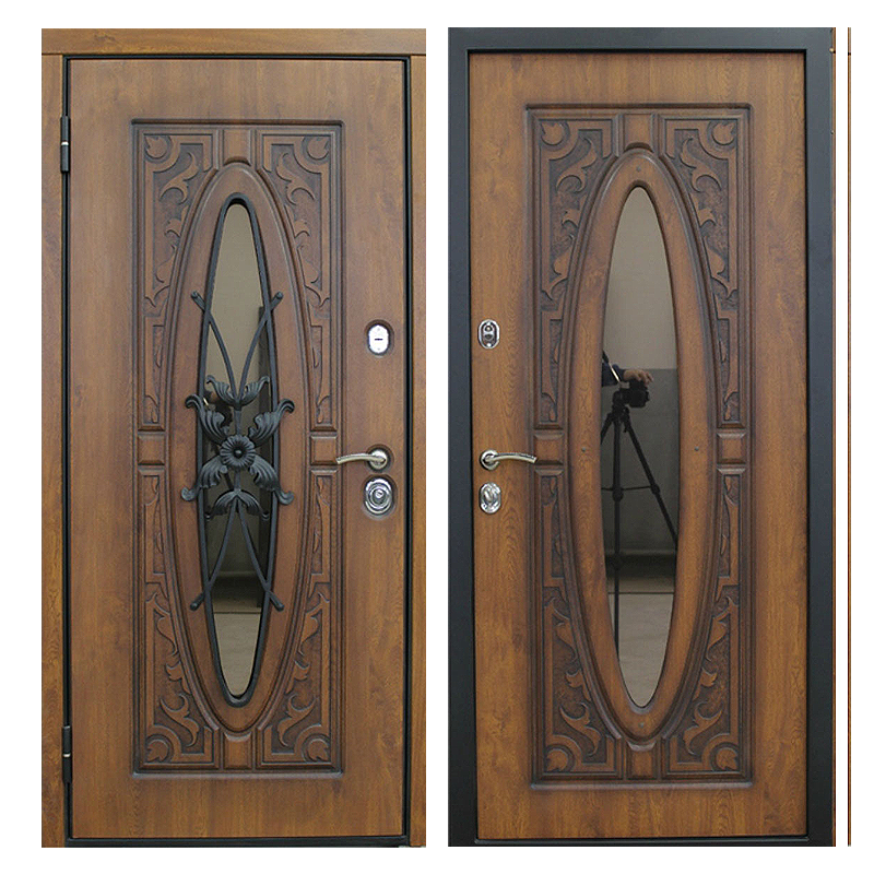 Входная металлическая дверь MRSК-005 (МДФ панели + стеклопакет + ковка)