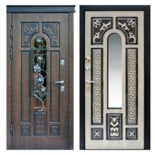 Входная металлическая дверь MRSК-008 (МДФ панели + стеклопакет + ковка)