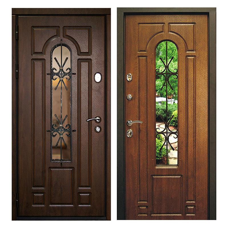 Входная металлическая дверь MSК-001 (МДФ панели + стеклопакет + ковка)