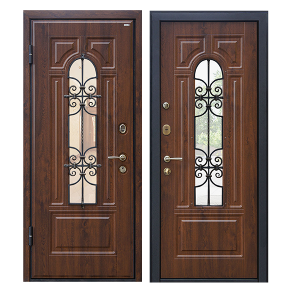Входная металлическая дверь MSК-002 (МДФ панели + стеклопакет + ковка)