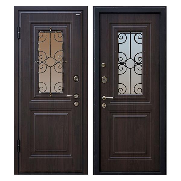 Входная металлическая дверь MSК-003 (МДФ панели + стеклопакет + ковка)