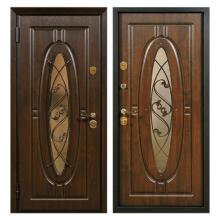 Входная металлическая дверь MSК-004 (МДФ панели + стеклопакет + ковка)