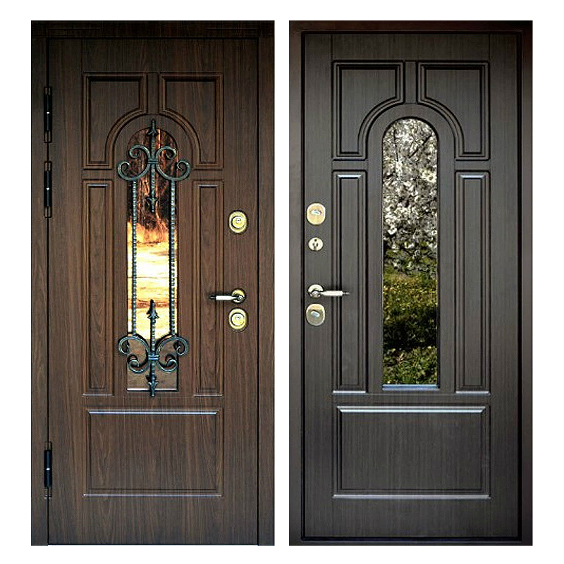 Входная металлическая дверь MSК-005 (МДФ панели + стеклопакет + ковка)