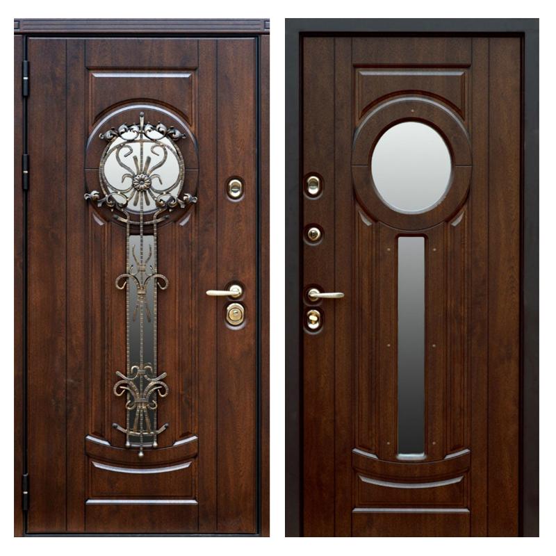 Входная металлическая дверь MSК-006 (МДФ панели + стеклопакет + ковка)