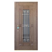Парадная входная металлическая дверь PD-002 (МДФ + стеклопакет + ковка)