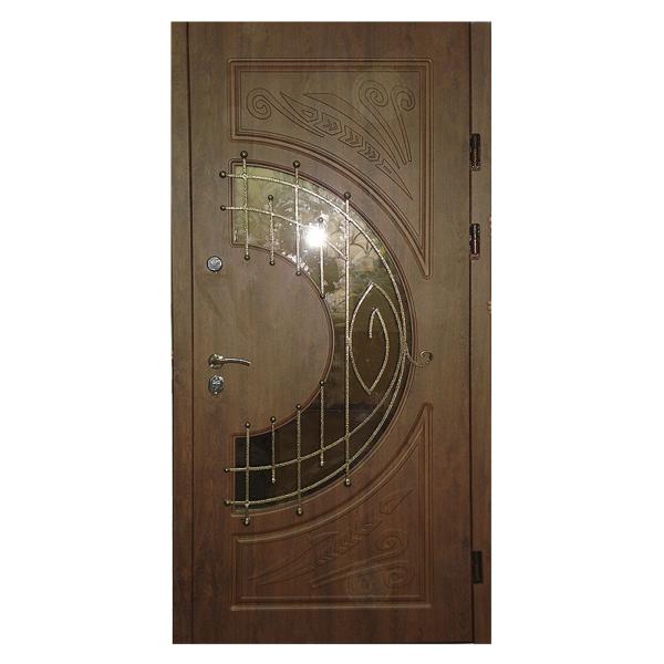 Парадная входная металлическая дверь PD-003 (МДФ + стеклопакет + ковка)