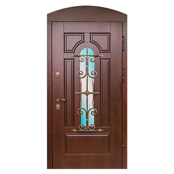 Парадная входная металлическая дверь PD-004 (МДФ + стеклопакет + ковка)