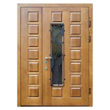 Парадная входная металлическая дверь PD-005 (массив дуба + стеклопакет + ковка)