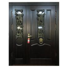 Парадная входная металлическая дверь PD-009 (массив дуба + стеклопакет + ковка)
