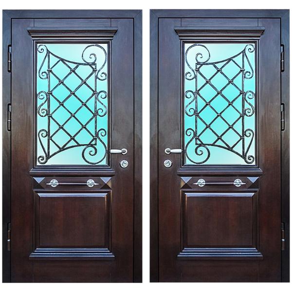 Парадная входная металлическая дверь PD-010 (МДФ шпон + стеклопакет + ковка)