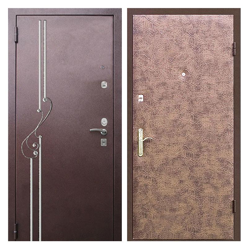 Входная металлическая дверь PVК-006 (порошковое напыление с ковкой + винилискожа)
