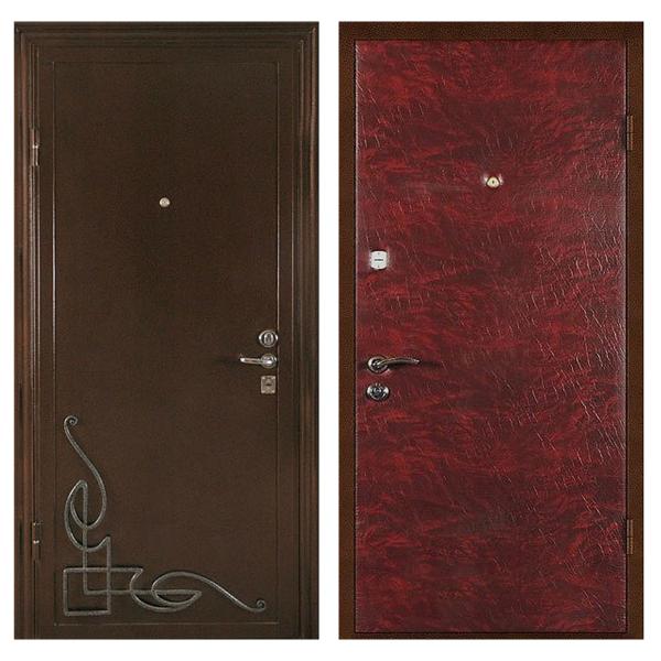 Входная металлическая дверь PVК-007 (порошковое напыление с ковкой + винилискожа)