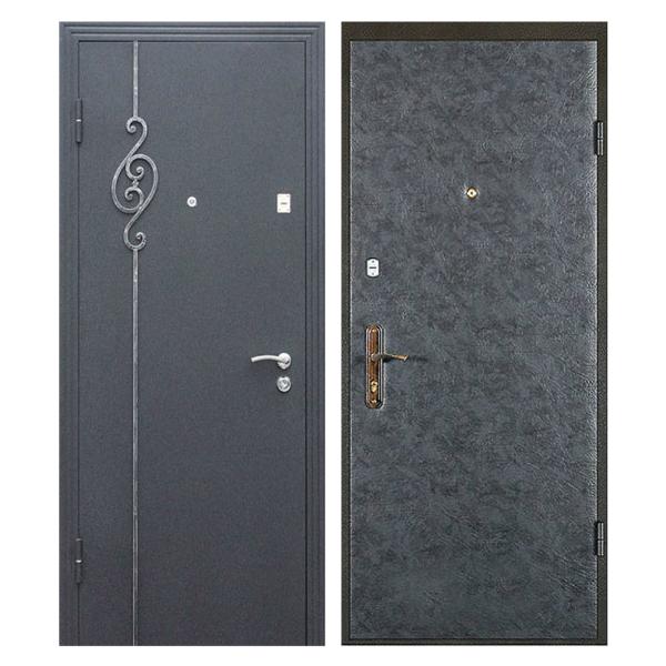 Входная металлическая дверь PVК-009 (порошковое напыление с ковкой + винилискожа)
