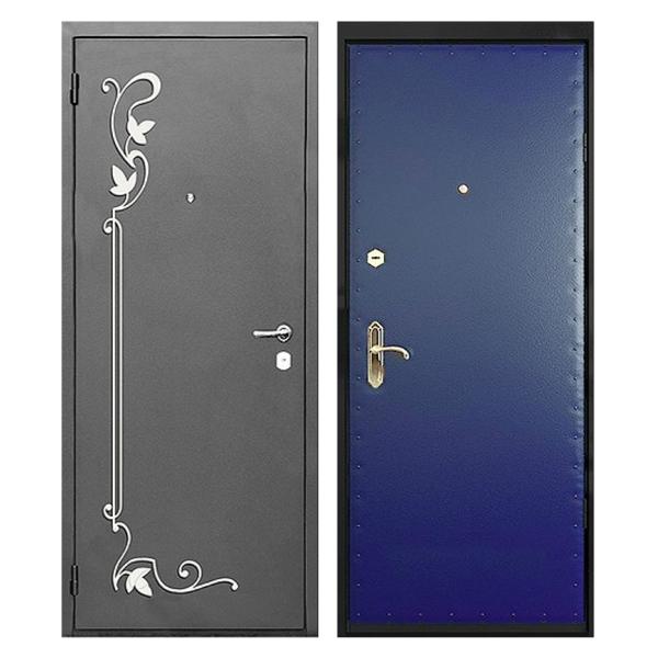 Входная металлическая дверь PVК-010 (порошковое напыление с ковкой + винилискожа)