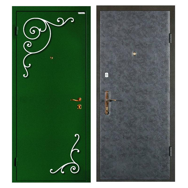 Входная металлическая дверь PVDК-002 (порошковое напыление с ковкой + винилискожа)