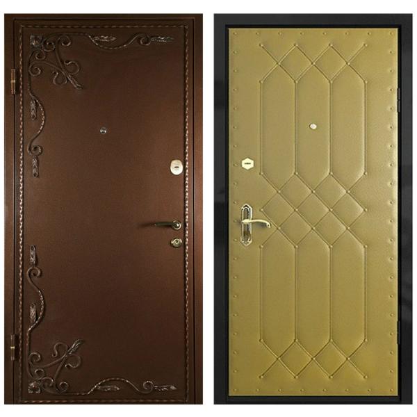 Входная металлическая дверь PVDК-004 (порошковое напыление с ковкой + винилискожа)