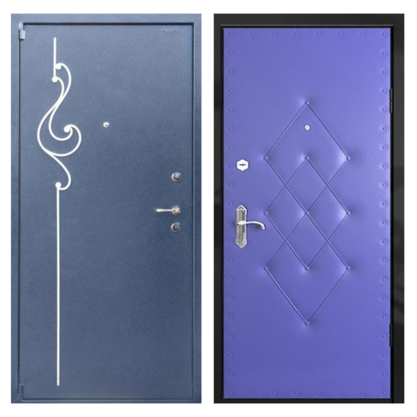 Входная металлическая дверь PVDК-005 (порошковое напыление с ковкой + винилискожа)
