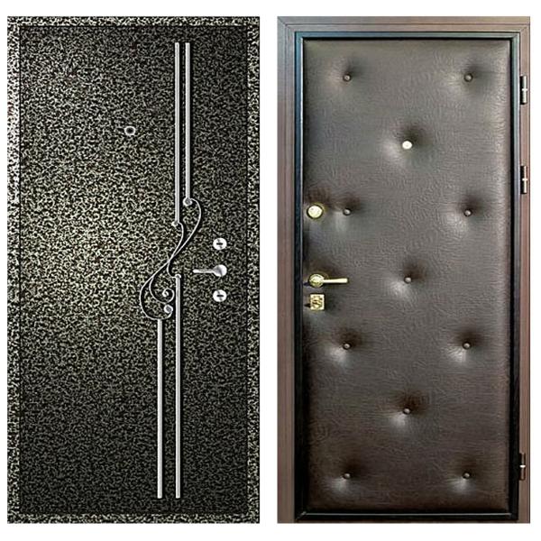 Входная металлическая дверь PVDК-008 (порошковое напыление с ковкой + винилискожа)